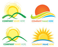Sun Logo. A sun logo icon set, including water, hills and mountains Stock Image