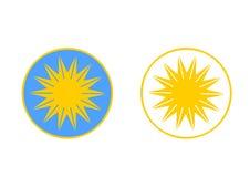 Sun-Logo auf weißem und blauem Hintergrund Vektor Stockfotografie