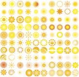 Sun logo & design elements. 100 sun logo & design elements stock illustration
