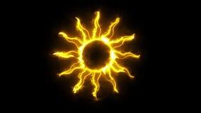 Sun Logo Graphic de néon alaranjado ardente Elementì video estoque