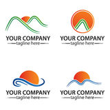 Sun logo. Have sea and mountain vector set art design Royalty Free Stock Photography