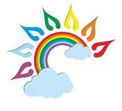 A sun logo with a rainbow. Stock Photos