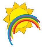 A sun logo with a rainbow. Stock Photo