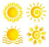 Sun Logo Set Royaltyfria Bilder