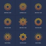 Sun logo set isolated on blue background. Stock Photography