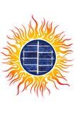 Sun logo with solar panels. Illustration art of a sun logo with solar panels stock illustration