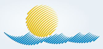 Sun and sea logo Royalty Free Stock Image