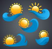Sun logo on a wave on a black background. Logo of the company, sea logo, the sun on a wave, sun and sea Stock Images