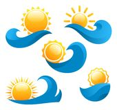 Sun logo on a wave on a white background Stock Photography