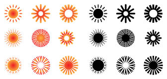 Sun Logos. Illustration of sun logo collections on white background Stock Photography
