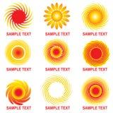 Sun logos. Set of bright sun logos Royalty Free Stock Images