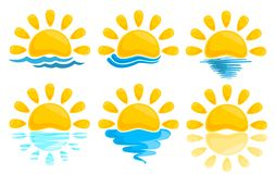 Sun Logos with sea. Royalty Free Stock Photography