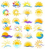 Sun Logos with sea. Stock Images