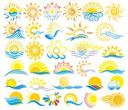 Sun Logos with the sea. Stock Photo