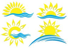 Sun Logos. A set of logos of the sun with the sea Stock Images