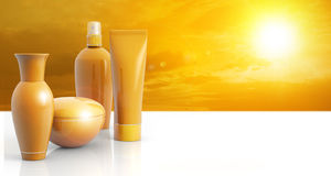 Sun lotions in a sunny sky Stock Photos