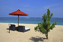 Sun lounge on Geger beach in Nusa Dua, Bali Royalty Free Stock Image