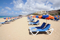Sun lounger on the beach Royalty Free Stock Image