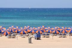 Sun lounger on the beach Stock Photo