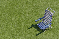 Sun lounger in blue and white horizontal Stock Images