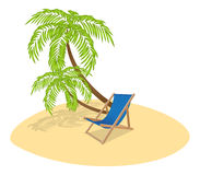 Sun Lounger and Palm Tree Stock Photos