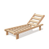 Sun lounger vector  on white background. Wooden chair. Stock Photography