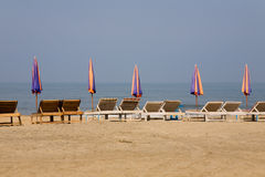 Sun loungeres and  Umbrellas Stock Images