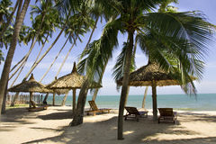 Sun loungeres and  Umbrellas against  blue sea at sun day Mui Ne Stock Photography