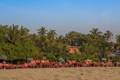 Sun loungers at Arambol beach, North Goa, India Royalty Free Stock Photography