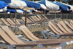 Sun loungers. Awaiting use to soak up the sun and relax stock photography