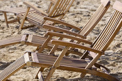 Sun loungers on the beach Stock Image