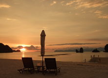Sun Loungers on the beach Royalty Free Stock Photos
