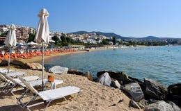 Beach in Kavala, Greece. Sun loungers on the beach in Kavala, Greece stock images
