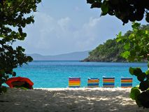 Sun loungers on beach beside tropical turquoise sea. Colorful beach chairs, framed by sea grape leaves, line up in front of the turquoise Caribbean Sea on Stock Image