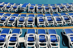 Sun Loungers On Cruise Deck. During sunny day stock photo