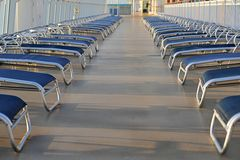 Sun loungers on cruise ship Royalty Free Stock Photography