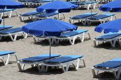 Sun Loungers. Lined up early in the morning ready for use in Tenerife, Canary Islands stock image