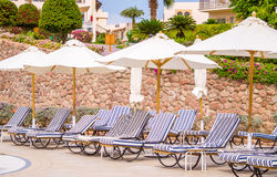 Sun loungers, parasols on the territory of a luxury tropical hotel Royalty Free Stock Photos