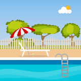 Sun loungers. By the pool. Flat design, illustration vector illustration