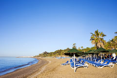 Sun Loungers on a Sandy Beach in Marbella. Sun loungers on a sandy beach by the Mediterranean Sea at the popular resort of Marbella in Spain, Costa del Sol stock image
