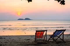 Sun loungers on the sea beach. Nature. stock images