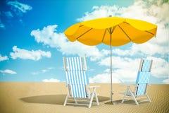 Sun loungers and umbrella Stock Photography