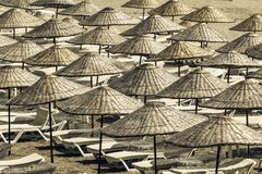 Sun loungers and umbrellas on empty beach on a sunny summer morning. View from above.  royalty free stock photography