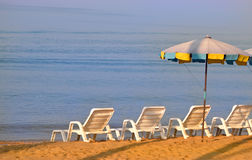 Sun lounges in the morning Royalty Free Stock Photo