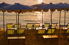 Sun lounges in twilight Royalty Free Stock Image
