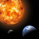 Sun, lua e terra Foto de Stock Royalty Free