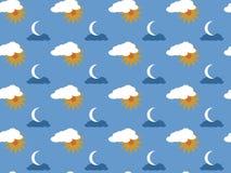 Sun, luna e nuvole (modello senza cuciture) Fotografia Stock