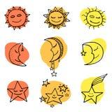 Sun, luna ed icone di vettore delle stelle Fotografia Stock