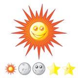 Sun, luna, estrellas Fotos de archivo libres de regalías