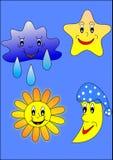 Sun, luna, stella e nube Immagini Stock Libere da Diritti